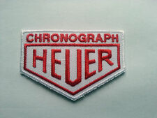MOTORSPORTS RACING TYRE SEW ON / IRON ON PATCH:- CHRONOGRAPH HEUER (a) RED BLOCK
