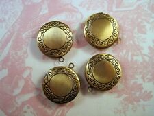 Antique Bronze Round Lockets (4) - G079 Jewelry Finding