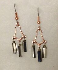Vintage Copper And Glass Bead Art Nouveau Deco Hook Earrings Dangle