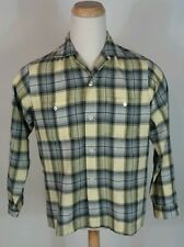 Vintage 40's 50's Rayon Wool Blend Flannel Plaid loop Collar Rockabilly Shirt L