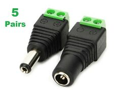5 Pair DC Power 12V 24V Male Female Jack Adapter Connector Plug CCTV 5.5 x2.1mm