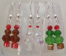 *Hand Crafted Kitsh Silver Plated Glass Crystal Beaded Earrings - For Christmas