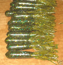 "3 1/2"" Bass Tube Light Melon Green Fleck Fishing Plastic Worm 50 count bulk bag"