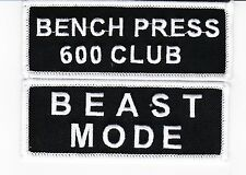 BEAST MODE BENCH PRESS 600 CLUB SEW/IRON ON PATCH EMBROIDERED WEIGHTLIFTING GYM
