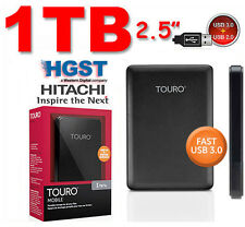 "New 1TB 2.5"" USB3.0 & USB2.0 HITACHI Touro External Hard Drive Disk 1000GB HGST"