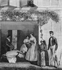 ILE MAURICE - FAMILLE MAURICIENNE SUR LE PATIO DE LEUR MAISON - Gravure du 19eme