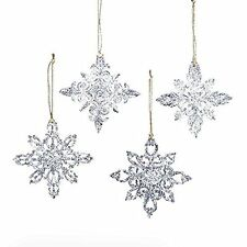 "3.5"" ACRYLIC SNOWFLAKE ORNAMENT, SET OF 4 ASSORTED by Kurt Adler NEW BRAND"