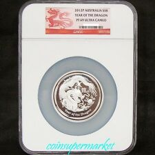 2012 Australia Lunar Year Of Dragon 5oz Silver Proof Coin NGC PF 69 UC!COA & Box