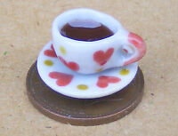 1:12 Tea In A White Ceramic Cup + Saucer Heart Motif Dolls House Accessory