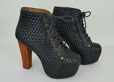 Jeffrey Campbell Lita Black Woven Vegan Boots Heels SZ 7M Lace Up Platform