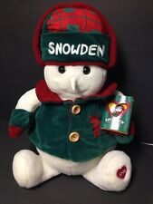 """Snowden and Friends JUMBO Plush Snowman 24"""" Green/Red Commonwealth 1998 W/ TAGS"""