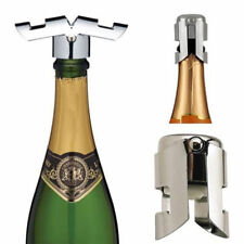 Oenophilia Champagne Recorker Metal Wings Rubber Stopper Chrome Finish