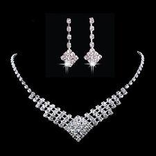 Mariée mariage robe en strass Collier Boucles d'oreilles en cristal Set bijoux