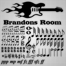 Personalized Music Decals. Guitar Flames Sticker, Music Notes 50+PCS