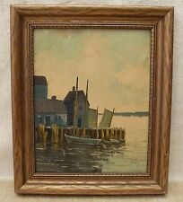 Original Oil Painting on Board Seascape Boats Dock Framed Artist Signed PABY