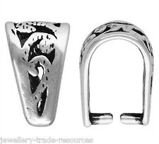 1x Plata Esterlina 925 Colgante Fancy Pellizco Bail bucle De 10 Mm X 6mm