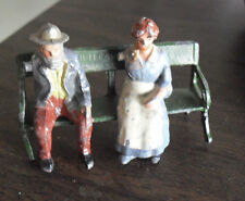 "Vintage 1950s England Metal Man and Woman Figurines on Bench 1 3/4"" Tall"
