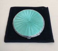 LOVELY SOLID SILVER GUILLOCHE ENAMEL COMPACT CASE, BIRM 1935