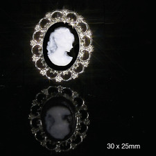 10 OVAL CAMEO EMBELLISHMENTS FLAT BACK FOR INVITATIONS Approx size 2.40 x 2.75cm