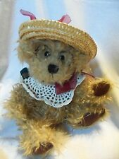 """Brass Button Bears Shaggy Teddy Bear 10"""" Jointed Plush ROSIE w/ Glasses & Hat"""