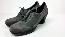 Women's Clarks Bendables 80896 Grey Suede Lace-Up Oxfords Heels size 7.5 M