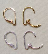 2 Pairs INTERCHANGEABLE Leverback Earring Wires 1 Silver, 1 Yellow Gold Plated