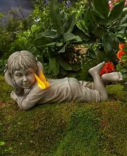 Solar Daydreaming Girl Statue w/Lighted Butterfly Outdoor Lawn Garden Yard Decor