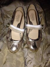 COACH Signature Logo Ballet Slipper Flats SZ 6M Gold/Brown Style Janey