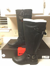 NIB Women G By Guess Hellia Hurdle Hing Riding Boots Black Leather Shoes 8.5 $99