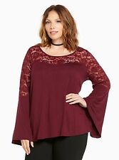 TORRID PLUS SIZE 5 5X 28 LACE BELL SLEEVE TOP SHIRT BLOUSE TUNIC GYPSY BOHO RED