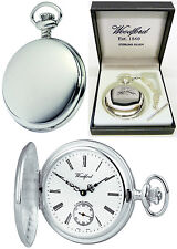 Woodford Sterling Silver Hunter Pocket Watch, Swiss 17 Jewel Free Engraving 1064