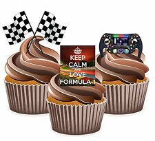 Keep Calm & Love Formula 1 12 Edible Wafer Cup Cake Toppers Birthday Decorations