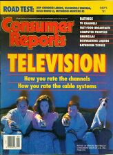 1991 Consumer Reports Magazine: Television/Cable Systems/Fast-Food Breakfasts