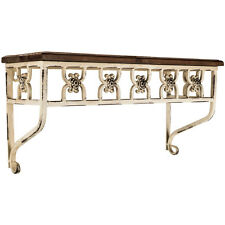 Elegant Decorative White Metal Shelf with Wood Top