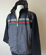 Authentic Men's GUCCI Sweatshirt Jacket  Leather & Cotton Jacket NEW Size M