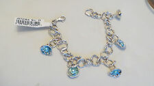 """Hagit Gorali Sterling Reflections Cultured Pearl Charm Bracelet Fits 8"""" TEAL"""