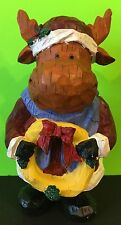 Adorable Faux Wood Carved Christmas Moose Holding A Wreath Figurine