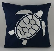 "Nautical Embroidered Pillow Cover - Turtle - 18"" x 18"" - Navy - Beach Decor"