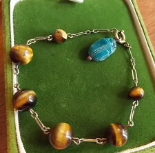 Vintage Sterling 925 Silver Tiger's Eye Turquoise Faience Scarab Bracelet 10a 52
