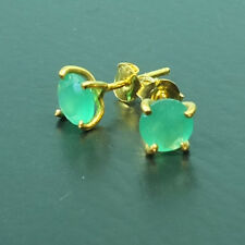 Turkish Ancient Handmade Emerald Stud Earring 22K Gold Over 925K Sterling Silver