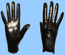 NEW WOMENS size 7 BLACK GENUINE PATENT LAMBSKIN LEATHER DRIVING GLOVES