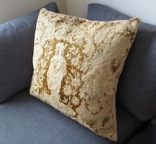"Large Antique Tapestry Cushion hand made Needlepoint Embroidery faded 26""x26"""