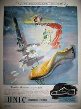 PUBLICITE DE PRESSE UNIC CHAUSSURES HOMME PAR MERCEY FRENCH ADVERTISING 1947