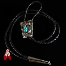 Vintage Navajo turquoise red coral sterling silver Bolo tie old pawn jewelry