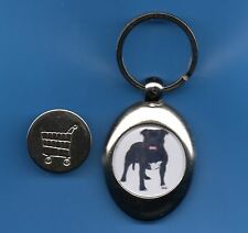 Staffordshire Bull Terrier KEYRING TROLLEY COIN DOG .