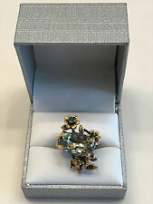 19ct  Art Natural Green Amethyst 925 Sterling Silver Ring Size 8