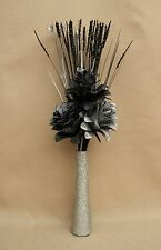 ARTIFICIAL SILK BLACK & SILVER GLITTER FLOWERS IN SILVER GLITTER CERAMIC VASE