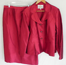 New Anna Rossi Skirt Suit Silk /Wool Satin Size 20 Dark Red Rhinestones