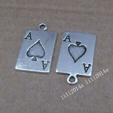 15pc Tibetan Silver Poker cards Pendant Charms Beads Accessories Findings PL689