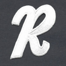"LETTERS  - White Script  2"" Letter ""R"" - Iron On Embroidered Applique"